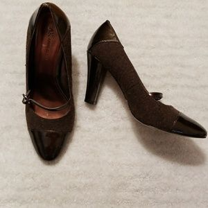 Anne Klein bronze tweed and patent maryjanes sz8.5